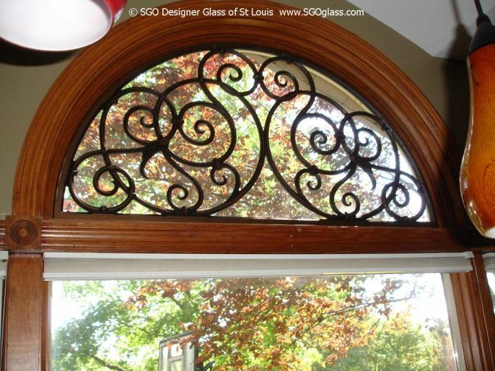 Half round window treatment with iron art!
