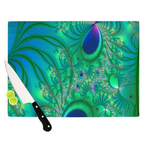 "Alison Coxon ""Fractal Turquoise"" Cutting Board | KESS InHouse"