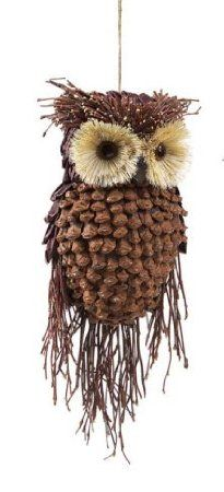 """Amazon.com: 13"""" Modern Lodge Pine Cone and Twig Owl Christmas Ornament Decoration: Home & Kitchen"""