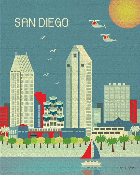 San Diego, California Skyline - Cityscape Art Poster Print for Home, Childs Nursery, and Office Decor - style E8-O-SD via Etsy