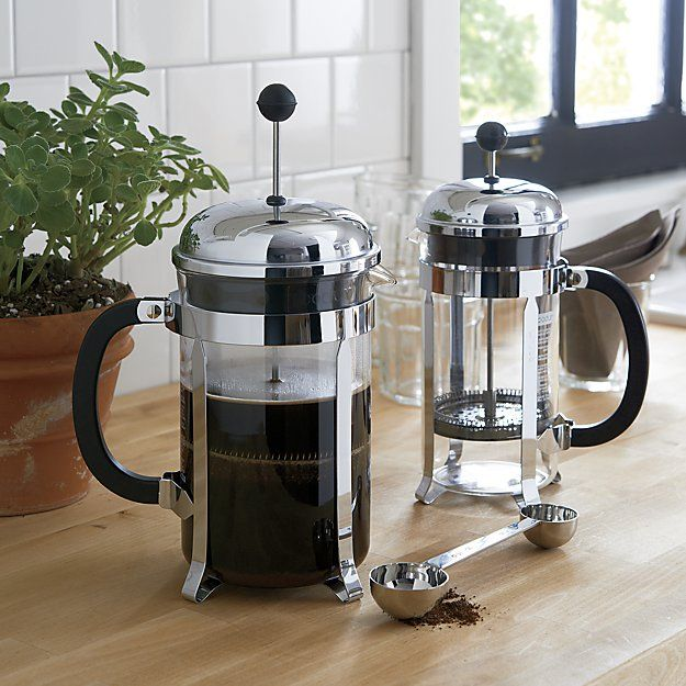 An original, dome-topped Bodum French press coffee maker with contemporary flair. The plunger-style brewing method results in fresh French press coffee revered for its rich, full-bodied character.