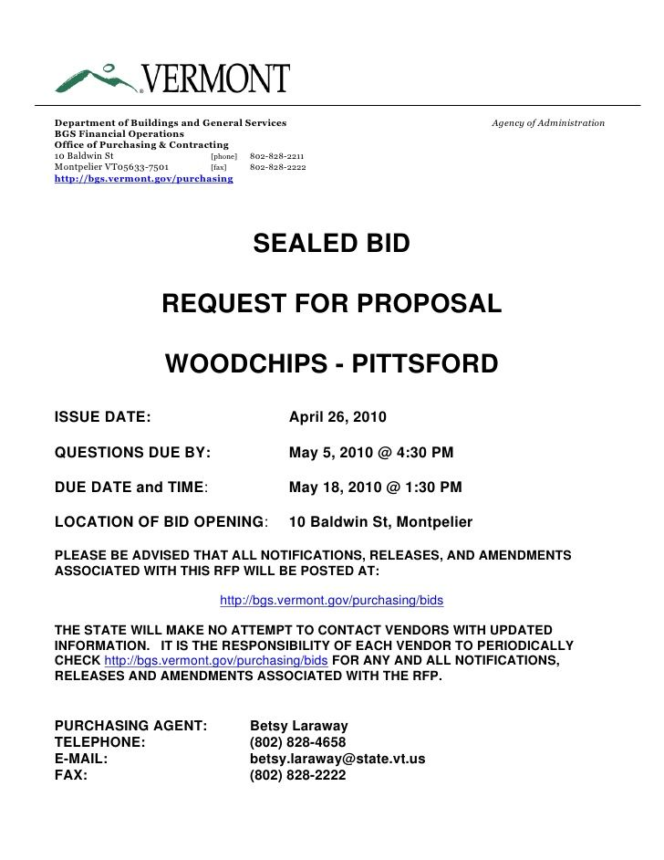 Request For Bid Proposal Proposal Templates Business Proposal Template Proposal Example