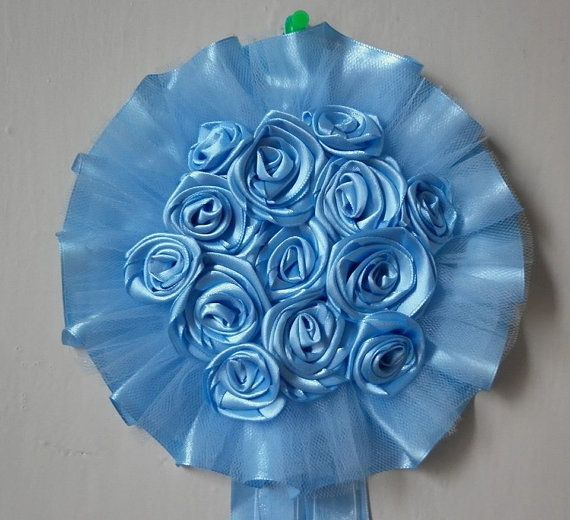FIOCCO NASCITA azzurro coccarda con rose battesimo di STELLEBLU