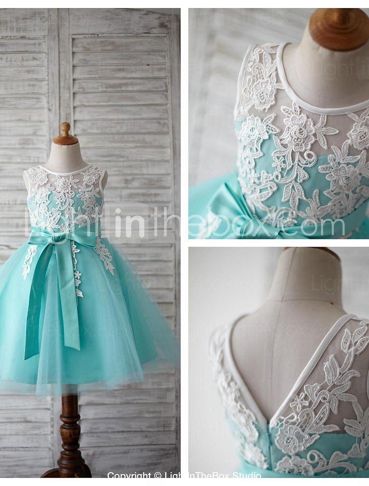 A-line Knee-length Flower Girl Dress - Lace / Tulle Sleeveless 4454960 2016 – $59.99