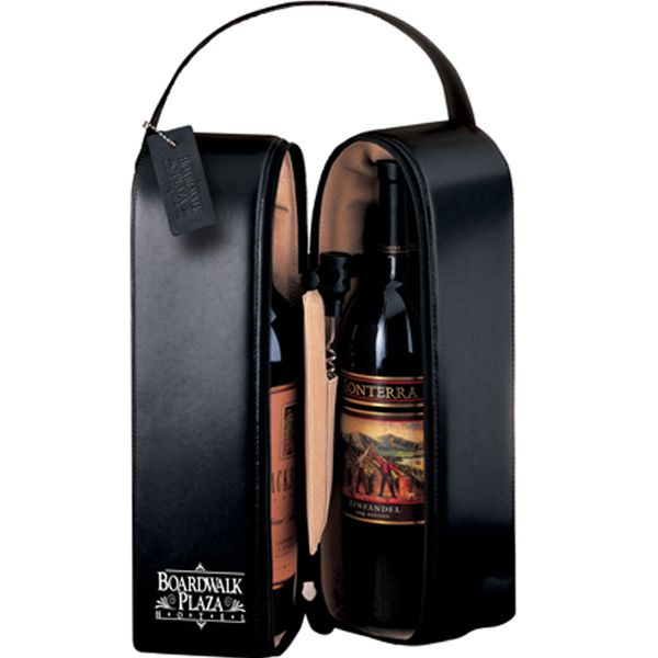 Leeman New York Upper West Side black cowhide leather wine case. Foam-insulated microfiber wine/champagne tote, trimmed with top-grain leather. Includes corkscrew and leather hang tag. Lifetime Guarantee. Supplier is QCA certified.