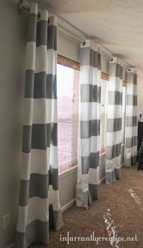 These DIY Striped Curtains are so AMAZEBALLS!  I am dying