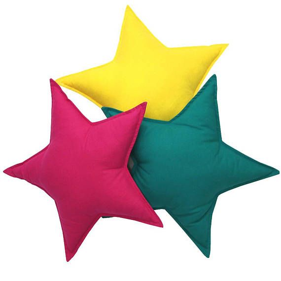 A set of stars pillows for a childrens room - 3 pieces. Pillows in various shapes are a great decoration for a childrens room, as well as nice cuddly pillows. Due to their numerous colors, sizes and textures, they will appeal to both infants and older children. The pillows fit perfectly