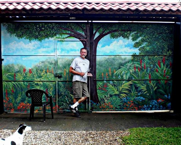 garage doors can serve as a great canvas for a mural. check out