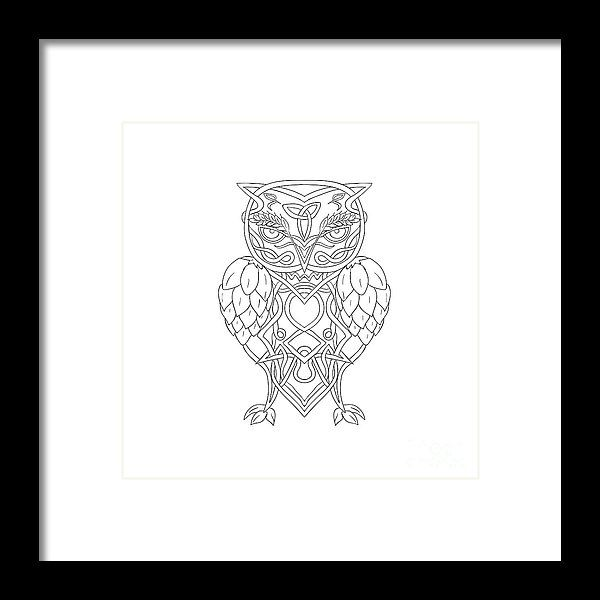 Hops And Barley Owl Celtic Knotwork Framed Print by Aloysius Patrimonio.  All framed prints are professionally printed, framed, assembled, and shipped within 3 - 4 business days and delivered ready-to-hang on your wall. Choose from multiple print sizes and hundreds of frame and mat options.