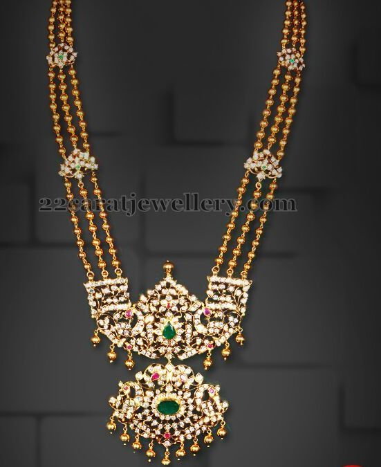 Jewellery Designs: Diamond Patakam Haram