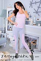 Костюм для фитнеса майка с лосинами серый с розовым 4059