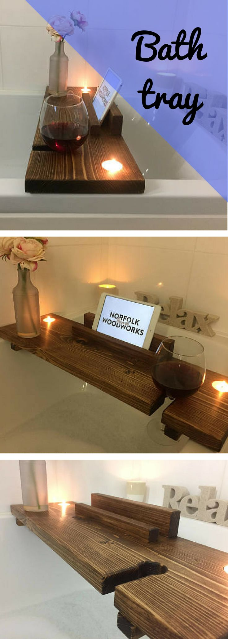 Wooden Bath Caddy - Wooden Bath Tray - Wooden Bath Board - Book Stand - Wine Glass Holder - Relaxation Wooden Bath Board - Bath Rack - Rustic Home Décor - Gifts for Her- Christmas Gift- Birthday Gift- Anniversary Gift - Gift Ideas- DIY Home #affiliatelink