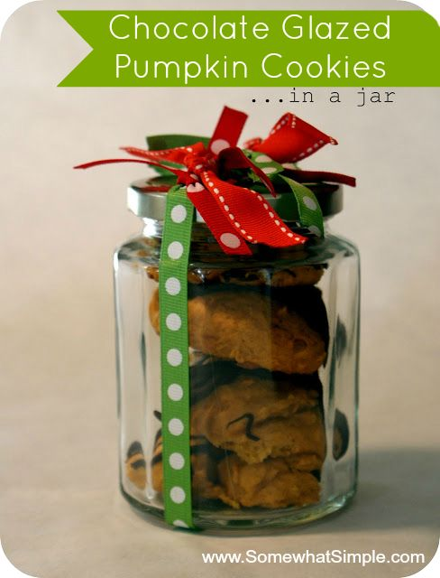Chocolate Glazed Pumpkin Cookies in a Jar (Cute gift plus awesome ...