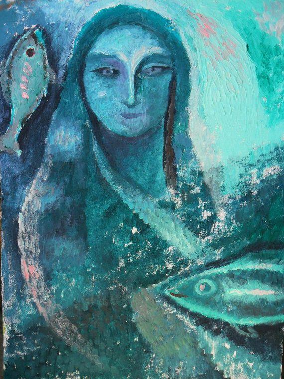 Sedna dea del mare/ocean goddess  acrilico su tela di Arsborealis