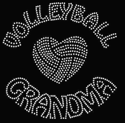 Volleyball Grandma Rhinestone Shirt LOVE/Heart Rhinestone Shirt BLING.  Vneck Tshirt, Long Sleeve T, Hoodie.  Great gift!