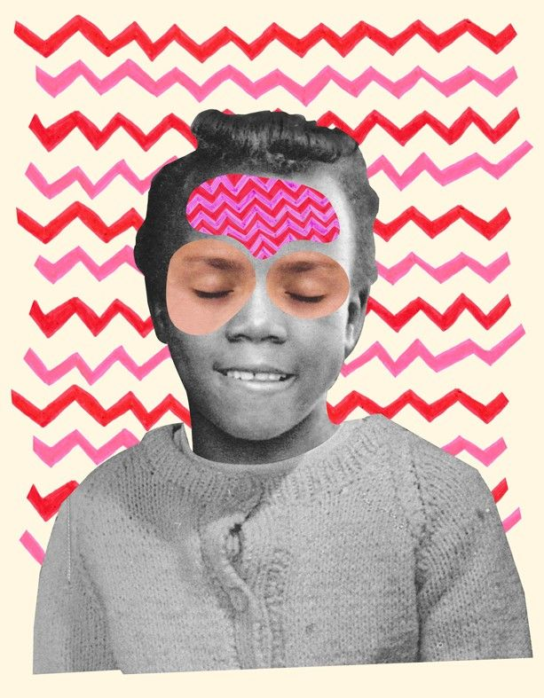 """""""Elsie"""" by Isabel Leal Bergstrand. Available at: http://www.arrivals.se/product/elsie-by-isabel-leal-bergstrand #art #affordable #affordableart #arrivals #print #portrait #collage #beige #pink #red #gray"""