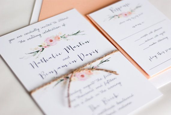 Beautiful, Watercolor Floral Wedding Invitation: NATALIE.