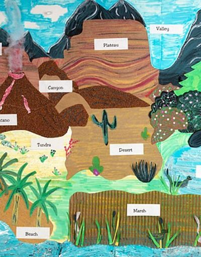 Create a unique, stunning display of the Earth's landforms. Showcase learning with textured materials such as sandpaper, aluminum foil, and corrugated paper. | geology and geography Grades 2,3,4,5: Across the Landscape