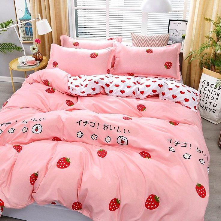 4pcs Pink Strawberry kawaii Bedding Set Luxury Queen Size