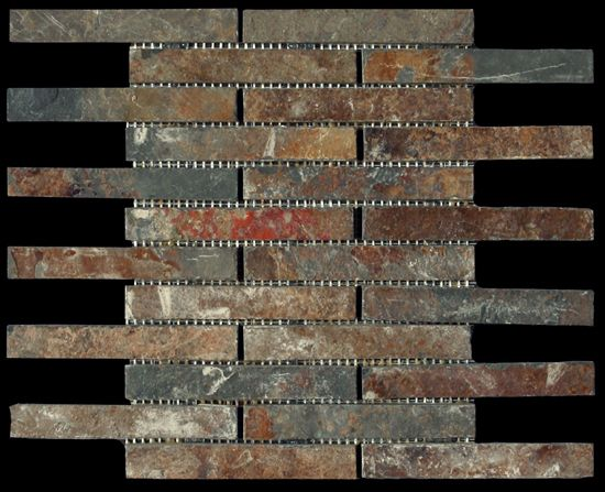 discount glass tile store slate mosaic 1x6 brick pattern multi color 567