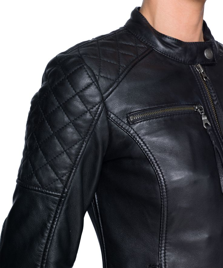 Ain't No Sissy Motorcycle Jacket - Black Arrow. Effortlessly fierce styling without sacrificing safety; that's what the Ain't No Sissy women's leather motorcycle jacket is all about. Features quilted panels and back lacing detail with deep pockets to fit all your modern day essentials. This jacket offers great protection from the wind and cold and is satin lined for comfort. Includes Dupont Kevlar® lining panels and CE approved armour for protection.