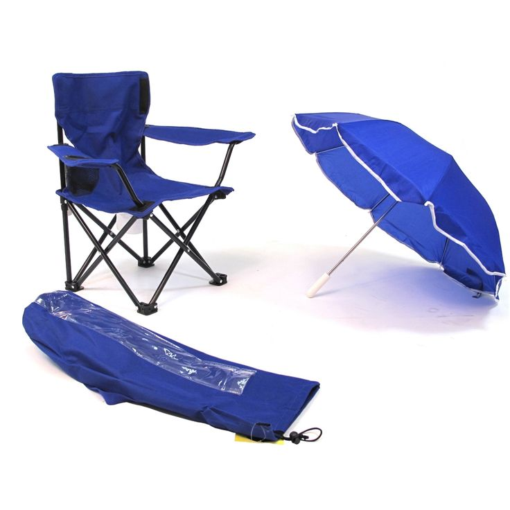 Redmon Beach Baby® Kids Camp Chair with Carry Umbrella and matching tote bag, Royal Blue