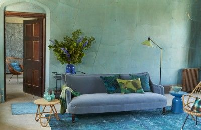 Pale cane furniture provides a lighter note in a scheme featuring luxurious textures, such as velvet and silk, in rich moody shades. Styling Twig Hutchinson. Photographs Sarah Maingot. http://www.hglivingbeautifully.com/2015/06/15/the-look-mineral-hues/