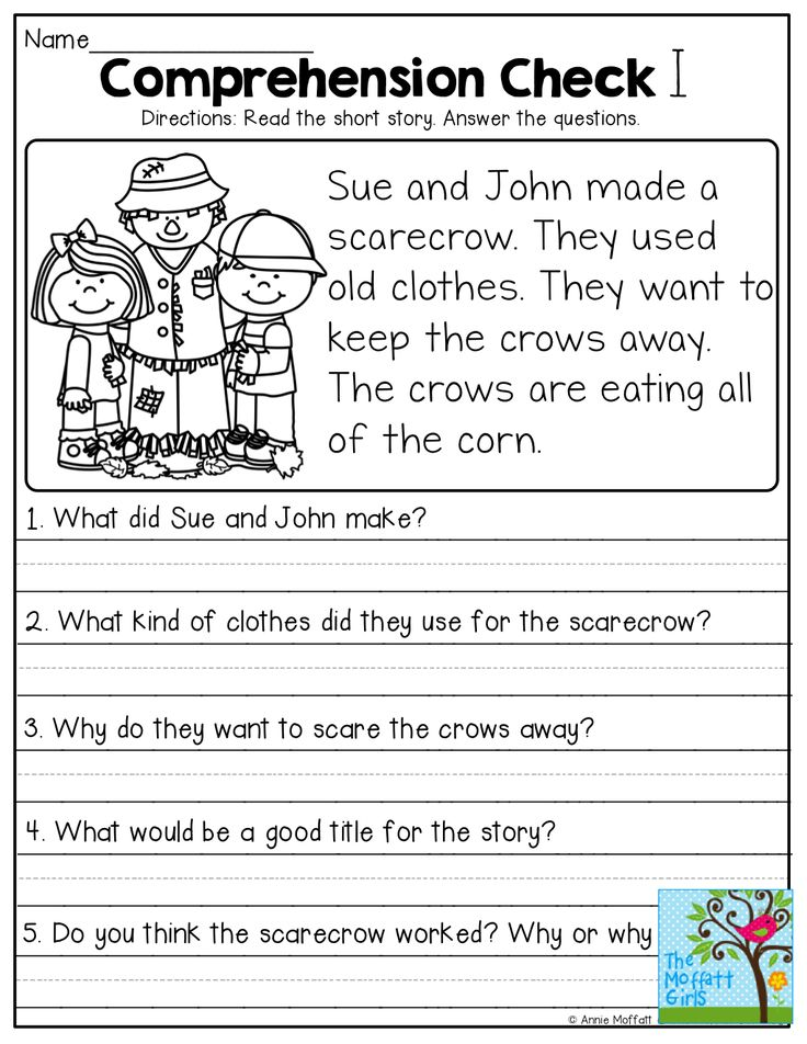 Short Stories With Comprehension Questions First Grade