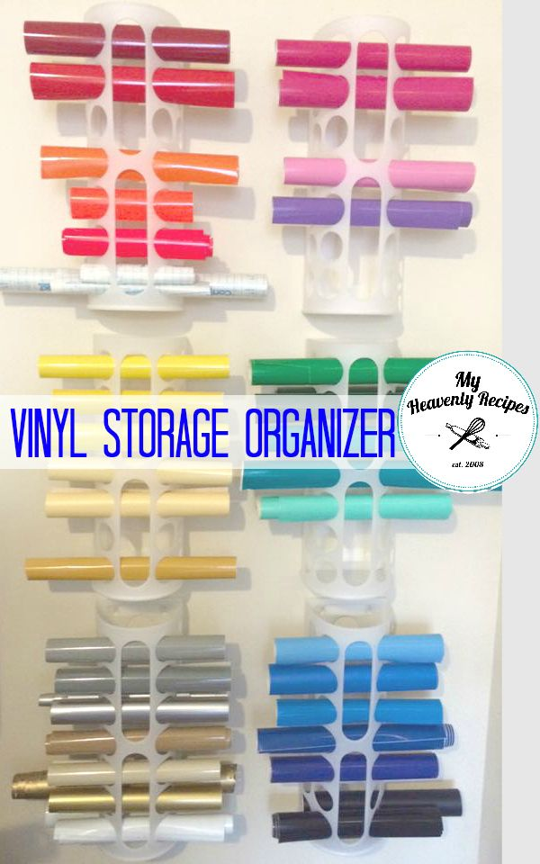 """If you need Vinyl Storage ideas this is the one. It's super simple, inexpensive and can be hung on the back or inside of a door! Photo Credit ES Craft Corner Ok so this whole """"Cricut Thing"""" has had me a little flustered. I'm over here on Pinterest looking for Cricut Projects to create and...Read More »"""