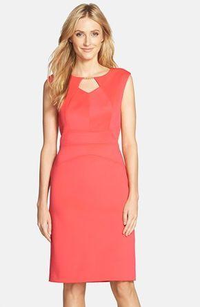 Ellen Tracy Embellished Scuba Sheath Dress available at Nordstrom #vestido #tubinho #salmão