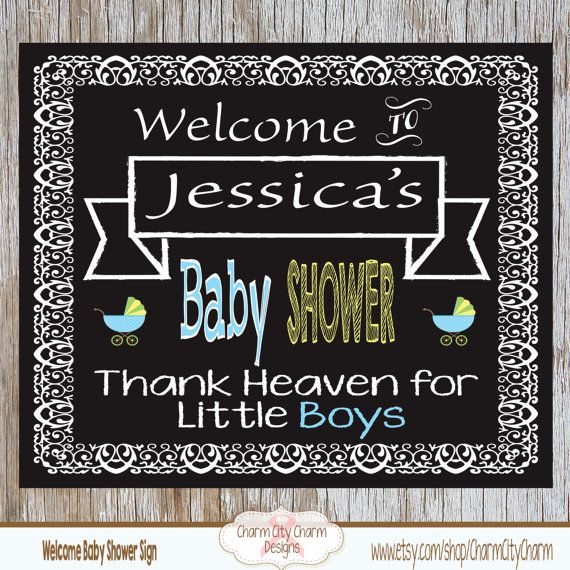 Welcome Baby Shower Chalkboard Sign Baby Boy by charmcitycharm