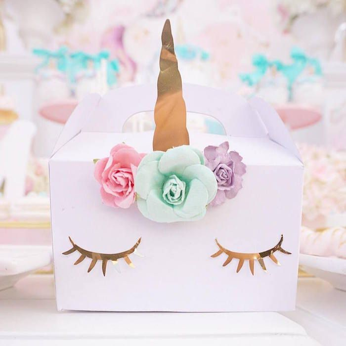 Unicorn gable box from a Magical Unicorn Birthday Party on Kara's Party Ideas | KarasPartyIdeas.com (15)
