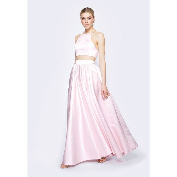 Pale Pink Anabelle Two Piece Dress ($249) ❤ liked on Polyvore featuring dresses, gowns, pale pink, formal evening dresses, pleated maxi skirt, 2 piece homecoming dresses, prom dresses and pink prom dresses