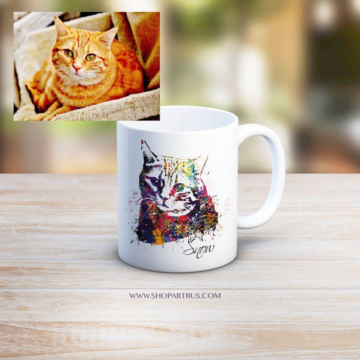 Custom Cat Portrait Mug, Water-colour Custom Pet Portrait, Custom Cat Art on mug, Cat Memorial, Pet Memorial, Original Cat Art on mug, WT13 by artRuss on Etsy