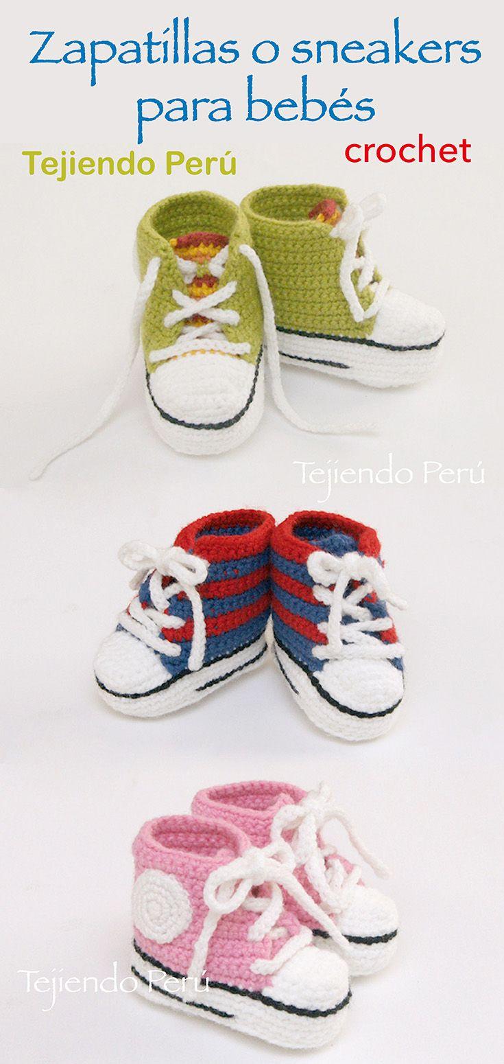 Sneakers o zapatillas para bebés tejidas a crochet!  Paso a paso con video tutorial :) ༺✿ƬⱤღ  http://www.pinterest.com/teretegui/✿༻  Conoce mas de los bebes en somosmamas.