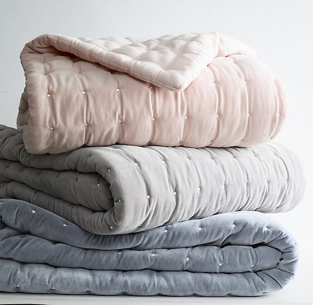 RH Baby & Child's Box-Tufted Velvet Quilt:Reminiscent of tufted upholstery, our cozy bedding is quilted in a grid accented with bright white thread. Lush cotton velvet has been washed for an extra-soft hand.