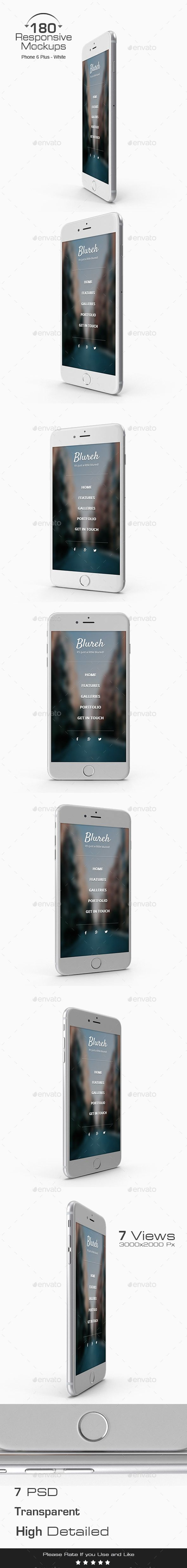 180 Responsive 3D Mockup Phone 6 Plus - White Edition. Download here: https://graphicriver.net/item/180-responsive-3d-mockup-phone-6-plus-white-edition-/17554589?ref=ksioks