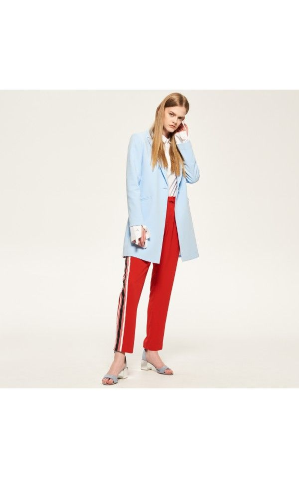 Pastelowy płaszcz, Bomberki, kurtki, swetry, niebieski, RESERVED