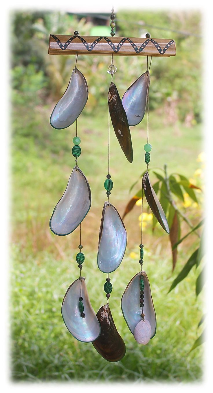 Large Mussel Shell Wind Chime / Mother of Pearl Shell Mobile by Malatichan on Etsy