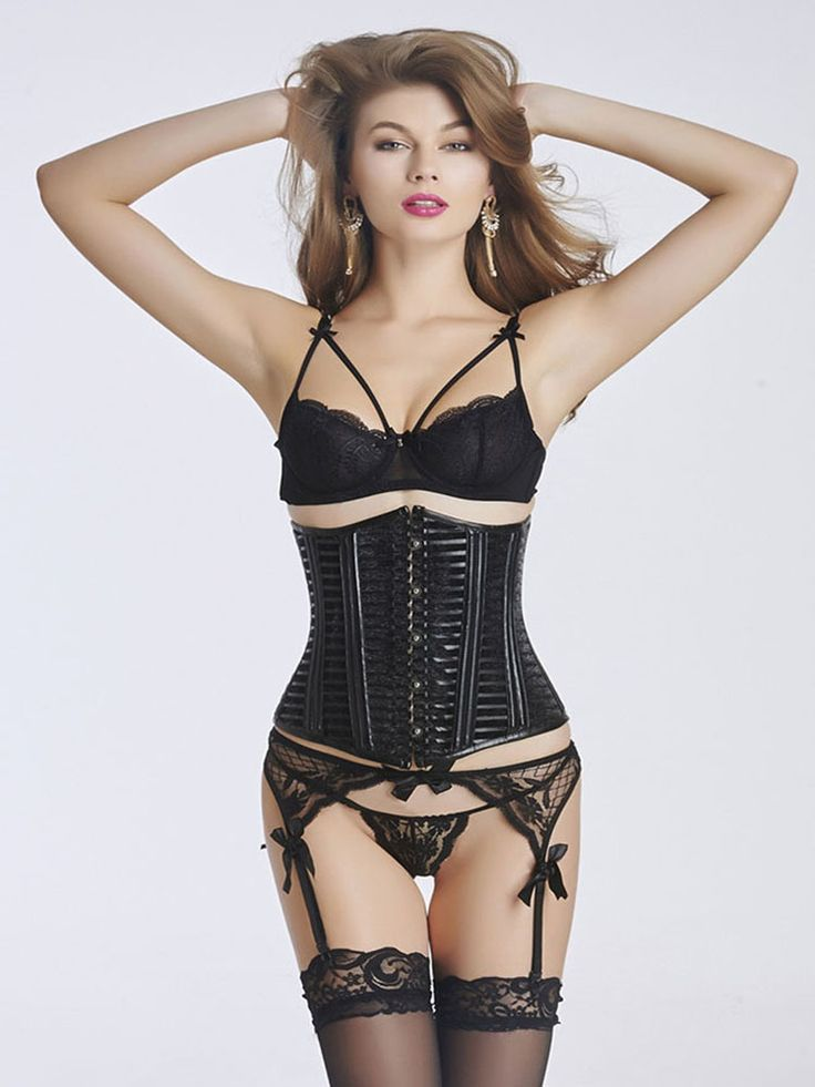 Reclaim your waistline in this PVC Underbust Corset is a cinch. It looks great and is comfortable, effective and sexy. PVC Underbust Corset In Black Equipped With Hook And Eye Front Closure And Lace Up Back.