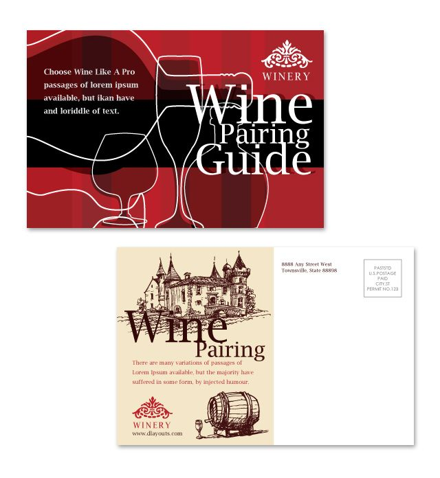 Vineyard winery postcard template for Silent auction catalog template