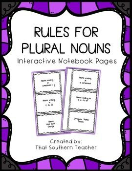 Plural NounsPlural nouns are often confusing because they have so many rules.  I created this for my students when we were learning plural nouns. Before starting I had the students cut the title and I can statement at the top of the page. We glued these into our interactive notebooks and wrote the rule and examples under the flaps.