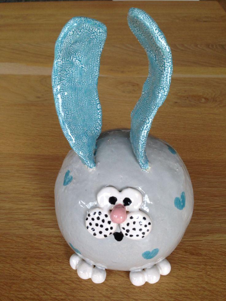 Keramiek konijn voor Pasen!