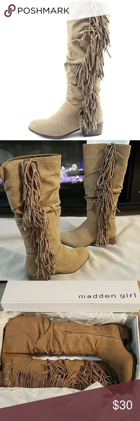 """🆕MADDEN GIRL BOOT Madden Girl Pondo tan knee high boot with beautiful waterfall fringe along the side. Faux suede upper and man made outsole.  - 1.5"""" heel - Shaft measures 15.25"""" - Circumference measures 15"""" Madden Girl Shoes Heeled Boots"""