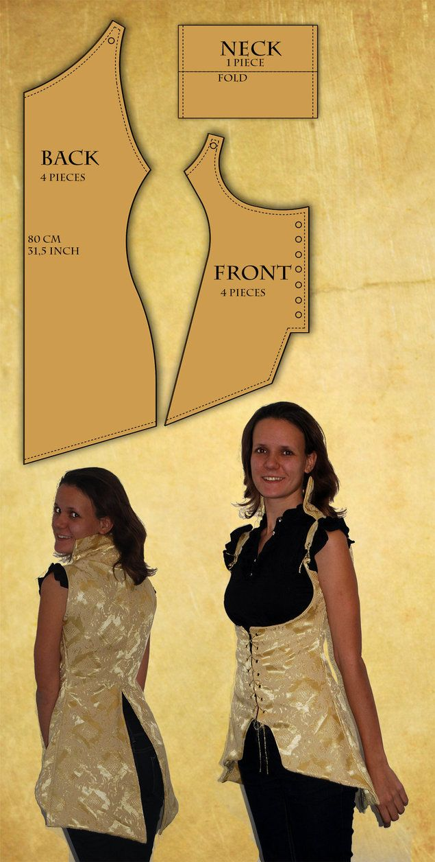 Reversible Corset Vest pattern and tutorial by Sindeon on deviantART