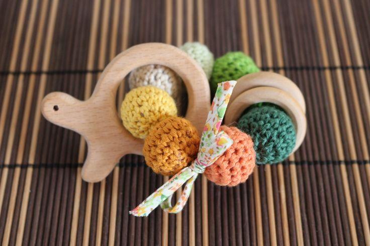 Les Amusements d'Em                  - Hochet - Anneau de dentition tortue en bois naturel et coton