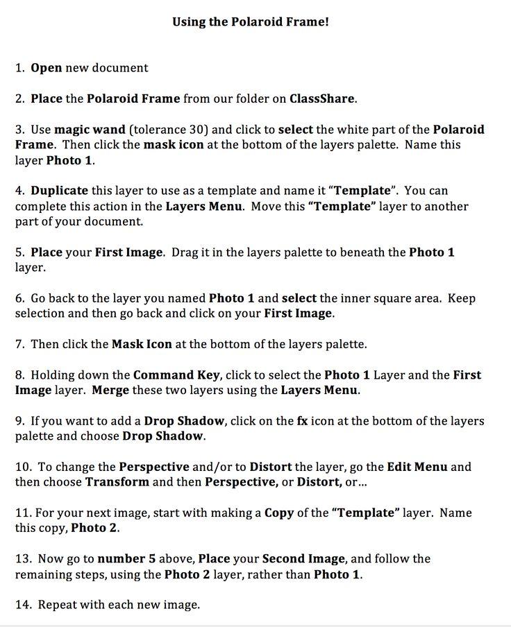 Using the Polaroid Frame In-Class Polaroid Pinterest - polaroid template