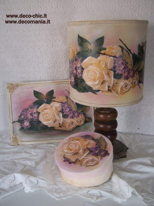 L'arrivo della primavera: rose e violette!!! Realizzati con carta da decoupage Decomania cod.M1134  www.deco-chic.it
