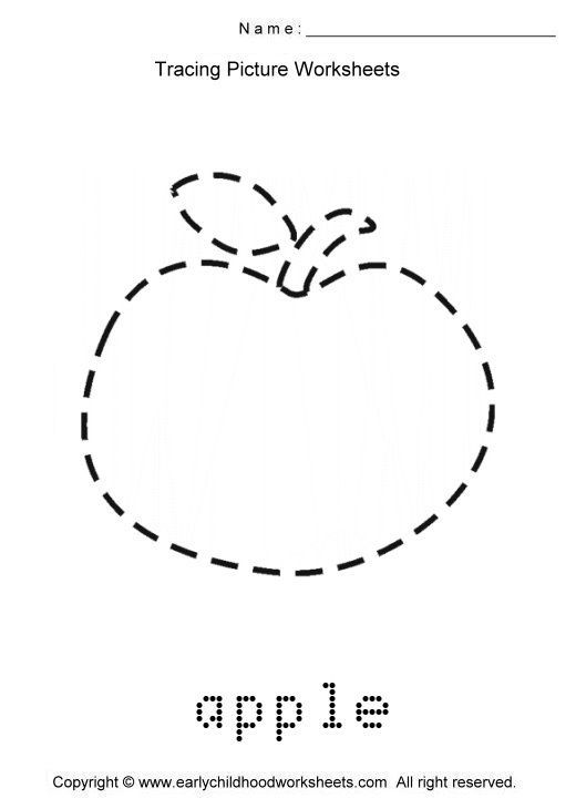 Tracing Apple Picture Coloring 2 Apple Picture Apple