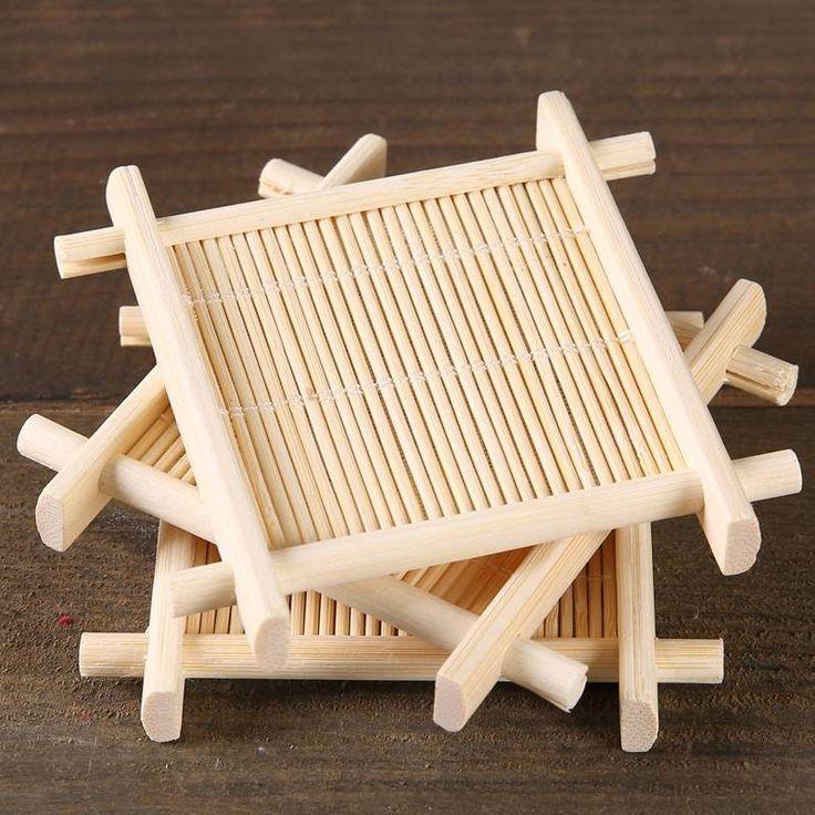 4pcs Bamboo Tea Cup Mat Coaster Kungfu Tea Scald Proof Cup Mat Coaster